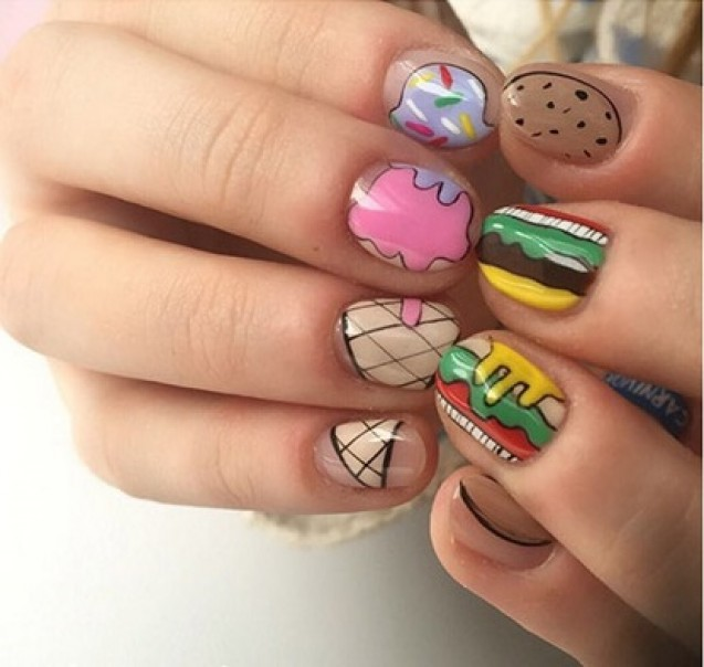 Nail art ice cream burger