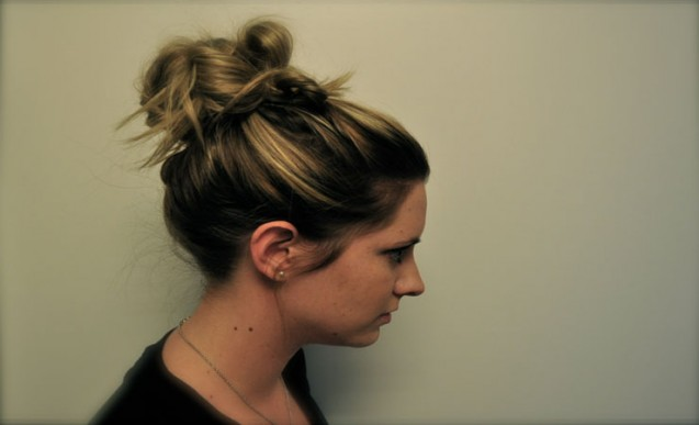 Wavy hair with bun